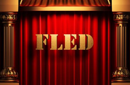 fled: golden word on red velvet curtain