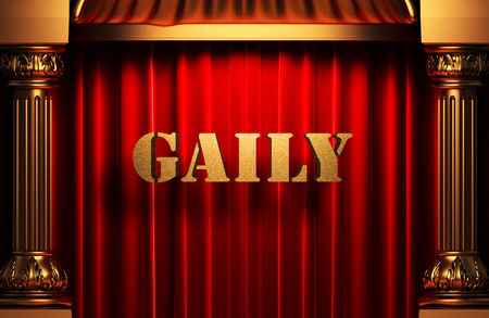 gaily: golden word on red velvet curtain