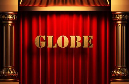 globe theatre: golden word on red velvet curtain
