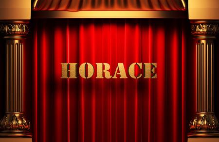 horace: golden word on red velvet curtain
