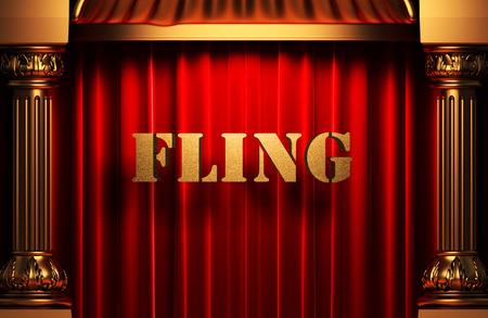 fling: golden word on red velvet curtain