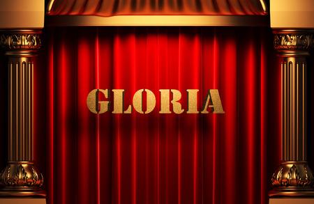gloria: golden word on red velvet curtain