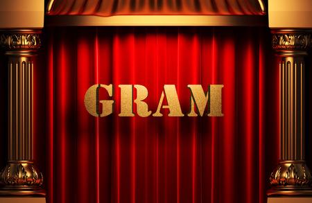red gram: golden word on red velvet curtain