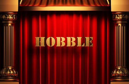 hobble: golden word on red velvet curtain