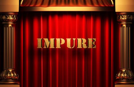 impure: golden word on red velvet curtain