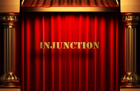 injunction: golden word on red velvet curtain
