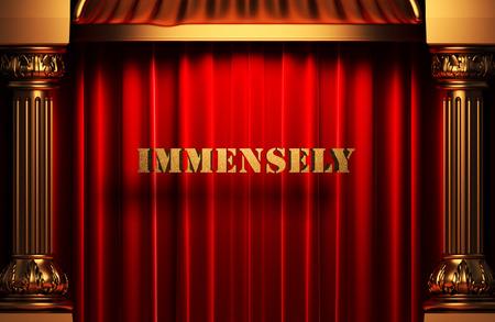 immensely: golden word on red velvet curtain