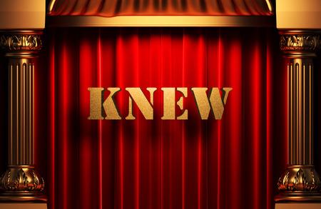 knew: golden word on red velvet curtain
