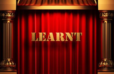 learnt: golden word on red velvet curtain