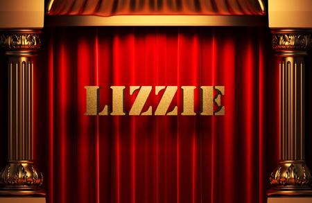 lizzie: golden word on red velvet curtain