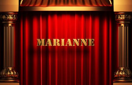 marianne: golden word on red velvet curtain