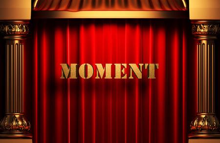 golden moment word on red velvet curtain