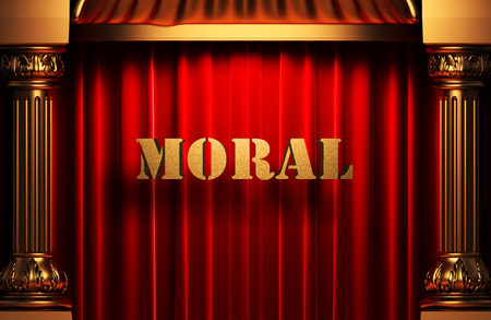 golden moral word on red velvet curtain