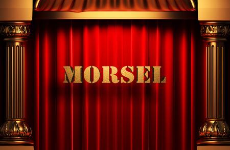 morsel: golden morsel word on red velvet curtain Stock Photo
