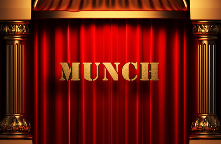 munch: golden munch word on red velvet curtain