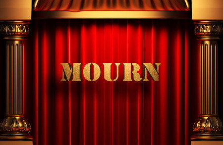 mourn: golden mourn word on red velvet curtain