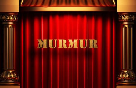 murmur: golden murmur word on red velvet curtain