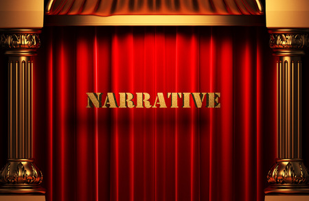 narrative: golden narrative word on red velvet curtain
