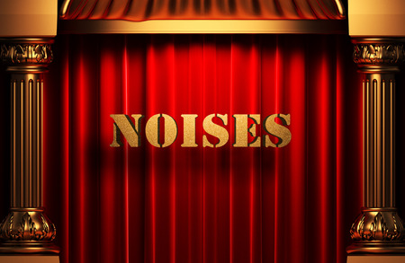 noises: golden noises word on red velvet curtain