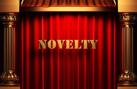 the novelty: golden novelty word on red velvet curtain Stock Photo