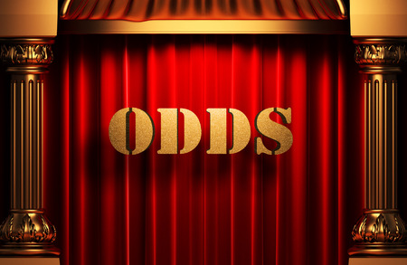 golden odds word on red velvet curtain