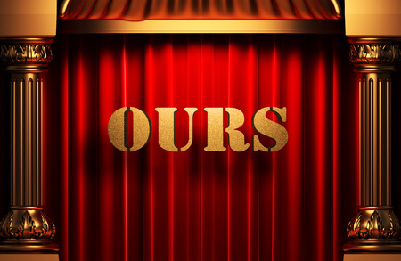 ours: golden ours word on red velvet curtain Stock Photo
