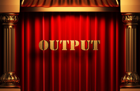 output: golden output word on red velvet curtain