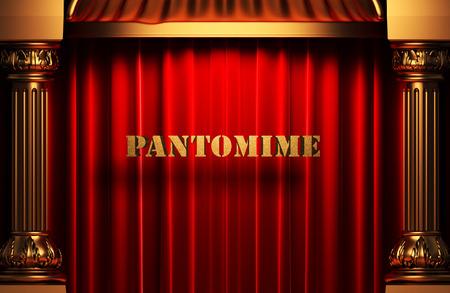 pantomima: palabra pantomima de oro en la cortina de terciopelo rojo