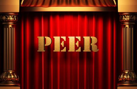 peer to peer: palabra de pares de oro en la cortina de terciopelo rojo