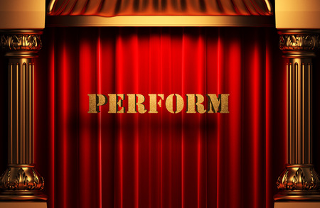 perform: golden perform word on red velvet curtain Stock Photo