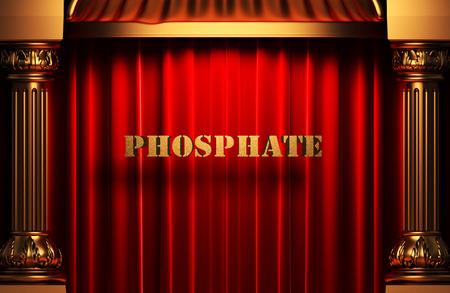 phosphate: golden phosphate word on red velvet curtain