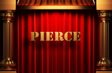 pierce: golden pierce word on red velvet curtain Stock Photo