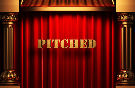 pitched: golden pitched word on red velvet curtain Stock Photo
