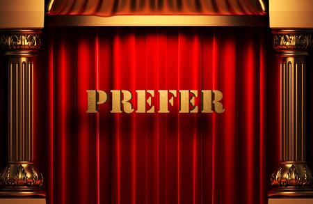 prefer: golden prefer word on red velvet curtain Stock Photo