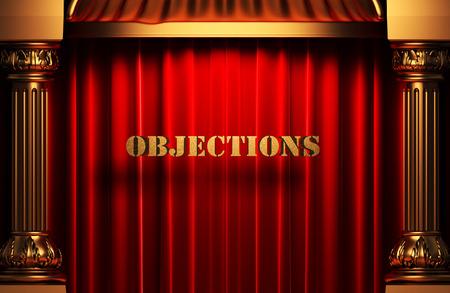 objections: golden word on red velvet curtain