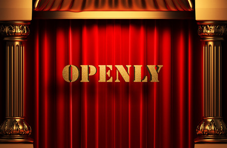 openly: golden word on red velvet curtain