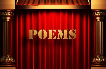 poems: golden word on red velvet curtain