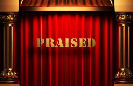 praised: golden word on red velvet curtain