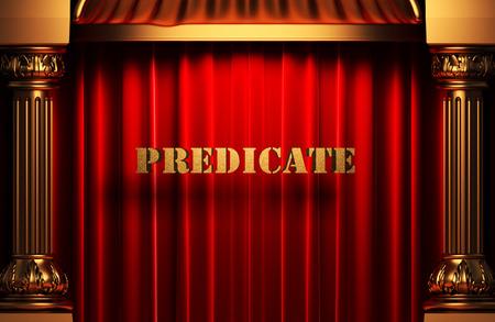predicate: golden word on red velvet curtain