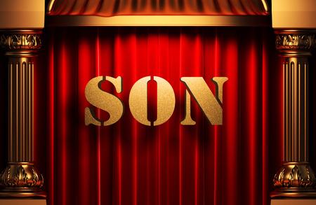 grand sons: golden word on red velvet curtain