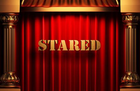 stared: golden word on red velvet curtain