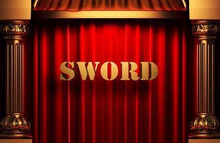 sword act: golden word on red velvet curtain