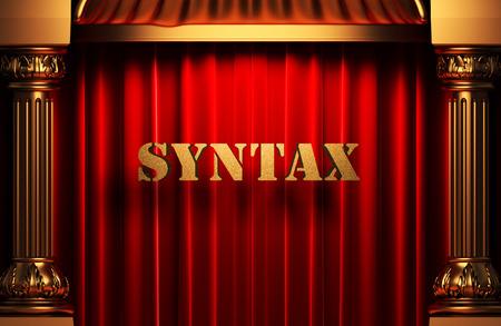 syntax: golden word on red velvet curtain