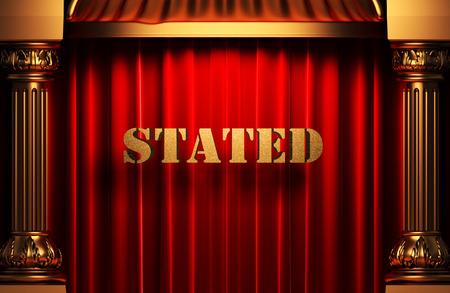 stated: golden word on red velvet curtain