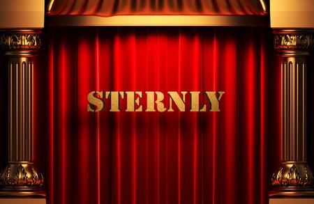sternly: golden word on red velvet curtain