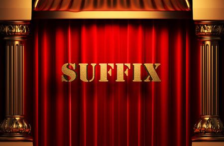 suffix: golden word on red velvet curtain