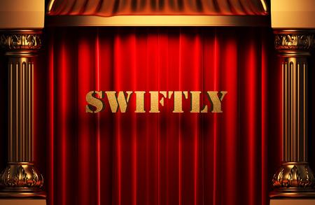 swiftly: golden word on red velvet curtain