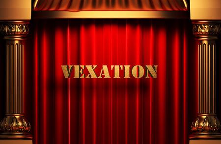 vexation: golden word on red velvet curtain