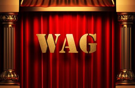 wag: golden word on red velvet curtain