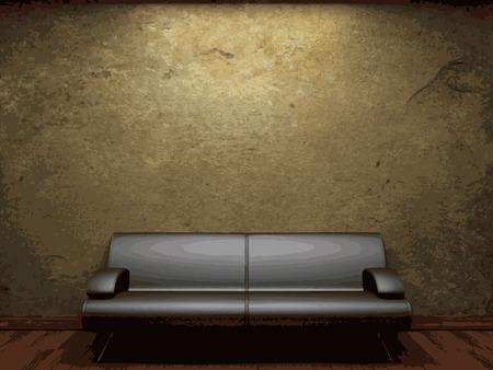 vector sofa and brick wall background Vector